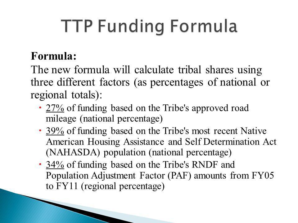 Formula: The new formula will calculate tribal shares using three different factors (as percentages of national or regional totals):  27% of funding based on the Tribe s approved road mileage (national percentage)  39% of funding based on the Tribe s most recent Native American Housing Assistance and Self Determination Act (NAHASDA) population (national percentage)  34% of funding based on the Tribe s RNDF and Population Adjustment Factor (PAF) amounts from FY05 to FY11 (regional percentage)