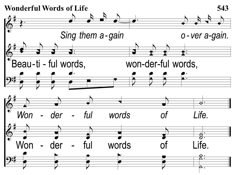 Opt descant 3-5 Wonderful Words of Life Wonderful Words of Life543