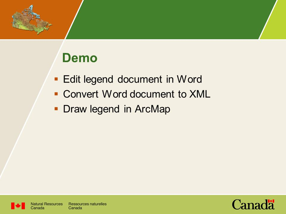 Demo  Edit legend document in Word  Convert Word document to XML  Draw legend in ArcMap