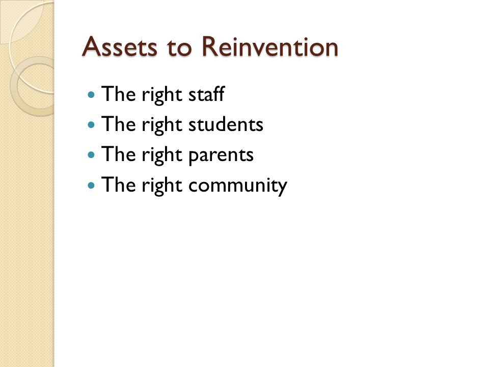 Assets to Reinvention The right staff The right students The right parents The right community