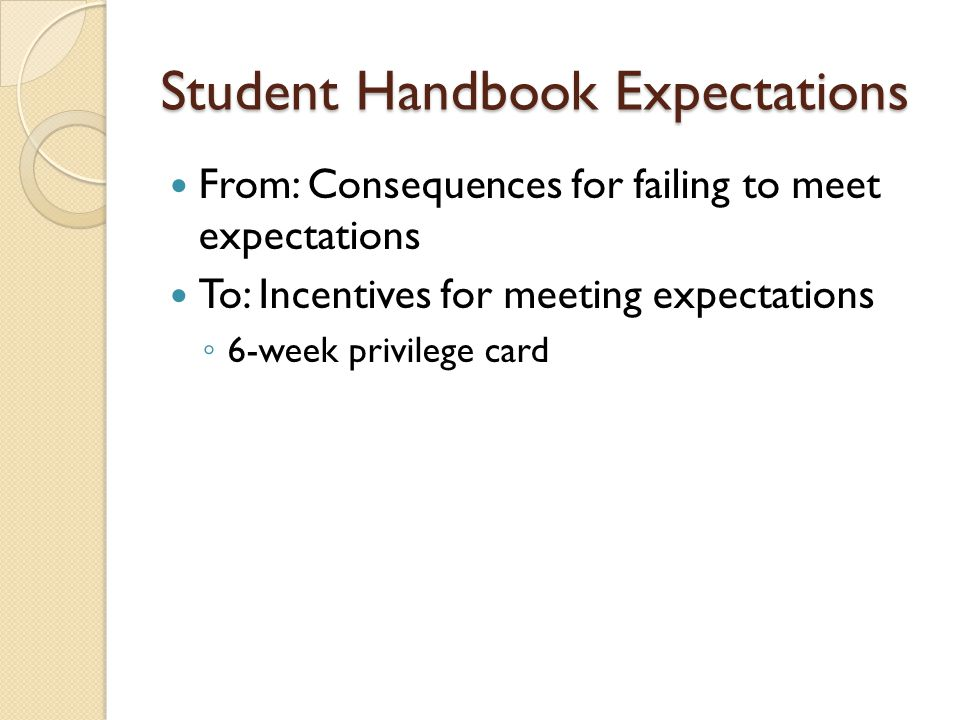 Student Handbook Expectations From: Consequences for failing to meet expectations To: Incentives for meeting expectations ◦ 6-week privilege card