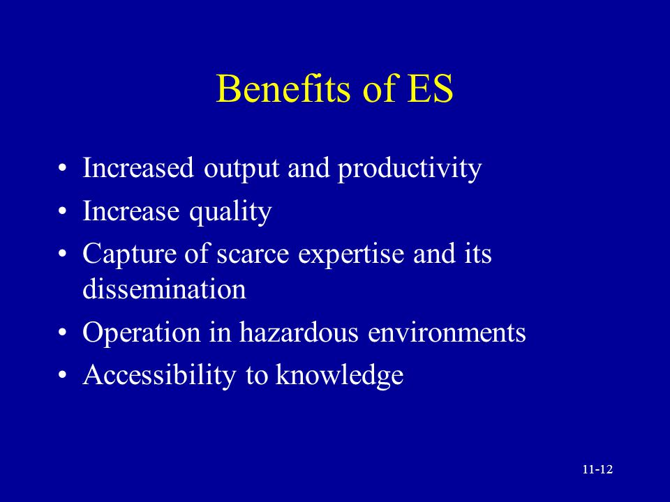 11-11 Expert System (ES) An ES is decision-making software that can reach a level of performance comparable to - or even exceeding that of - a human expert in some specialized problem area.