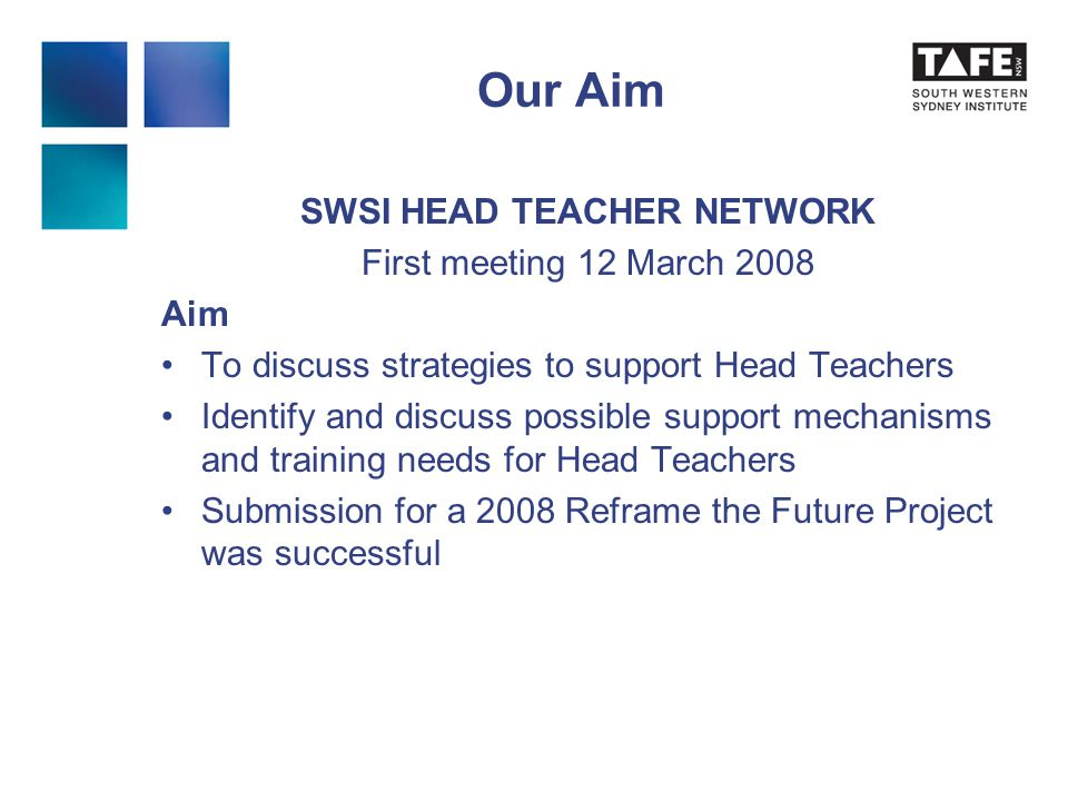 SWSI HEAD TEACHER NETWORK First meeting 12 March 2008 Aim To discuss strategies to support Head Teachers Identify and discuss possible support mechanisms and training needs for Head Teachers Submission for a 2008 Reframe the Future Project was successful Our Aim