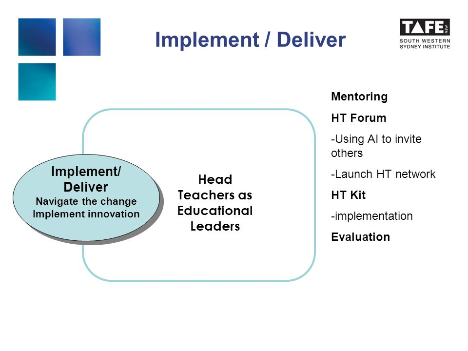 Implement / Deliver Implement/ Deliver Navigate the change Implement innovation Implement/ Deliver Navigate the change Implement innovation Head Teachers as Educational Leaders Mentoring HT Forum -Using AI to invite others -Launch HT network HT Kit -implementation Evaluation