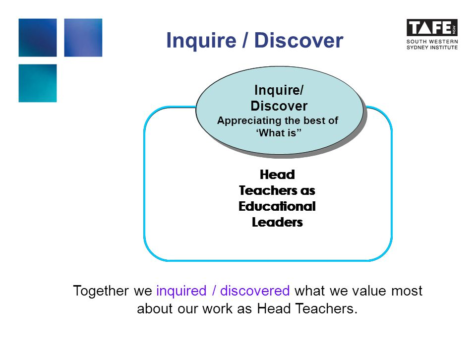 Inquire / Discover Inquire/ Discover Appreciating the best of 'What is Inquire/ Discover Appreciating the best of 'What is Head Teachers as Educational Leaders Inquire/ Discover Appreciating the best of 'What is Inquire/ Discover Appreciating the best of 'What is Head Teachers as Educational Leaders Together we inquired / discovered what we value most about our work as Head Teachers.