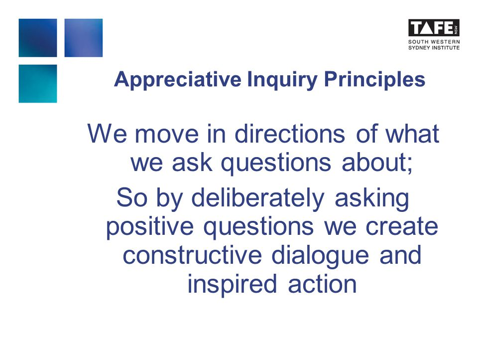 Appreciative Inquiry Principles We move in directions of what we ask questions about; So by deliberately asking positive questions we create constructive dialogue and inspired action