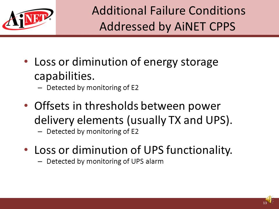 Undetected Shortcoming in Main Power with AiNET CPPS tSF time Stored Energy E max E20 Undetected failure condition without AiNET CPPS tSF time Stored Energy E max E2 AiNET CPPS intervenes when stored energy reaches E2 threshold 12