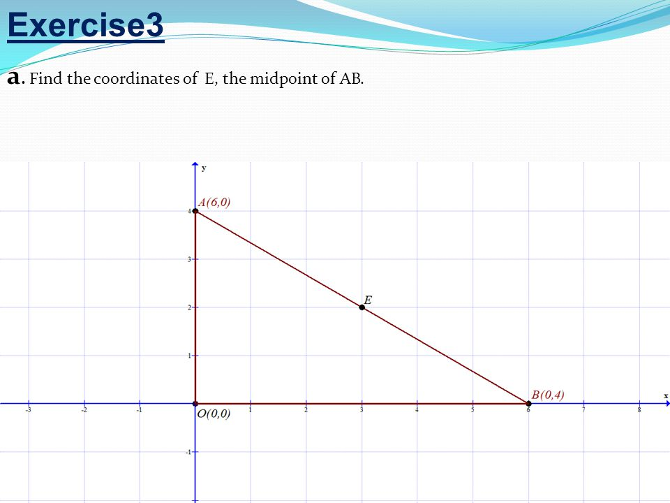 Exercise3 a. Find the coordinates of E, the midpoint of AB.