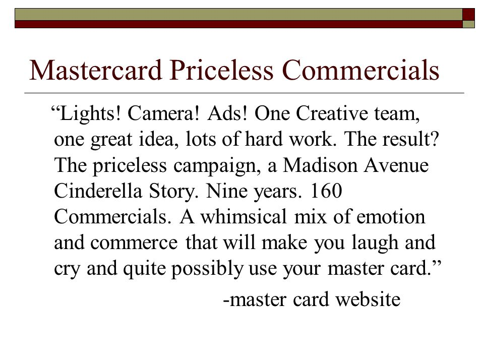 Mastercard Priceless Commercials Lights. Camera.