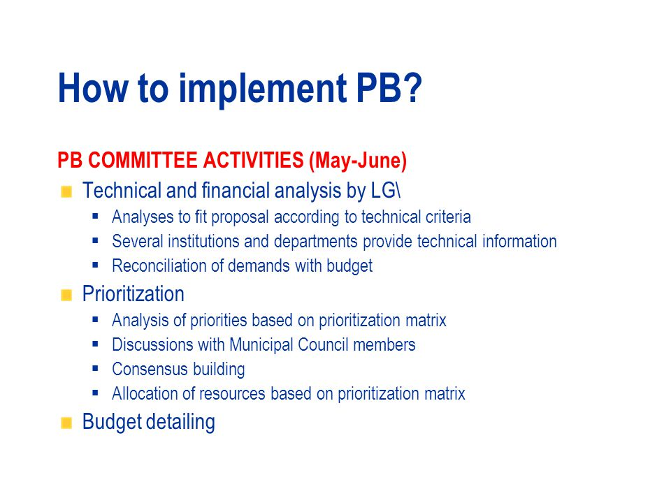 How to implement PB.