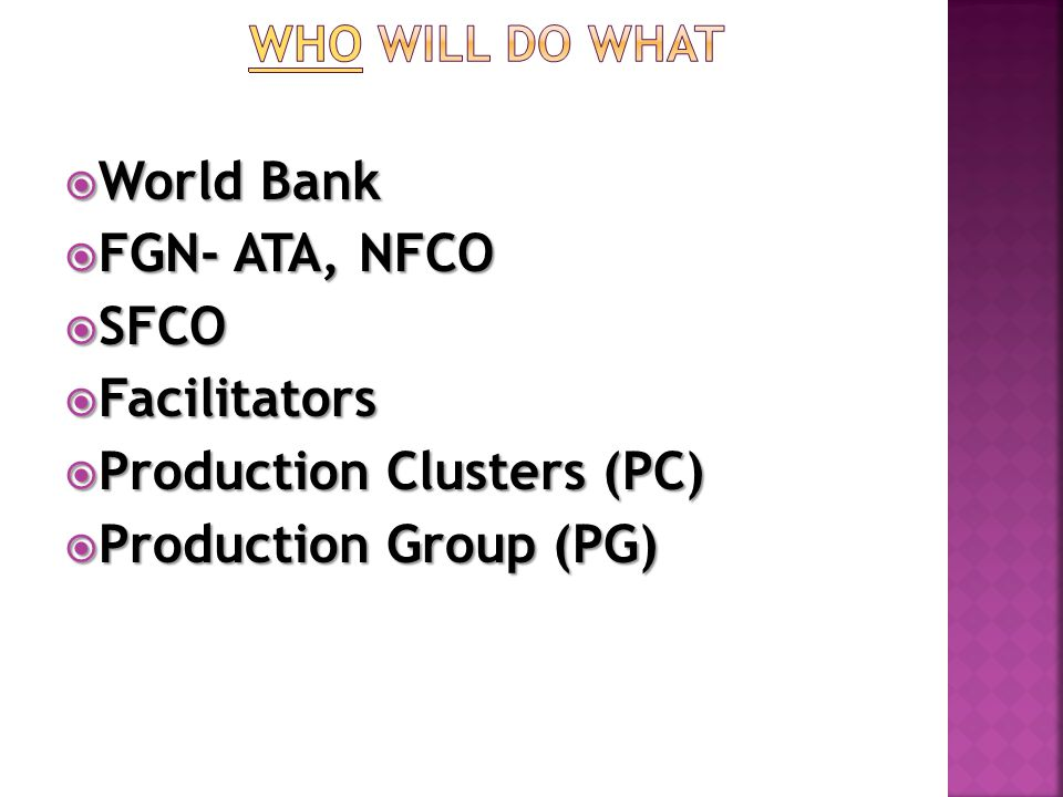  World Bank  FGN- ATA, NFCO  SFCO  Facilitators  Production Clusters (PC)  Production Group (PG)