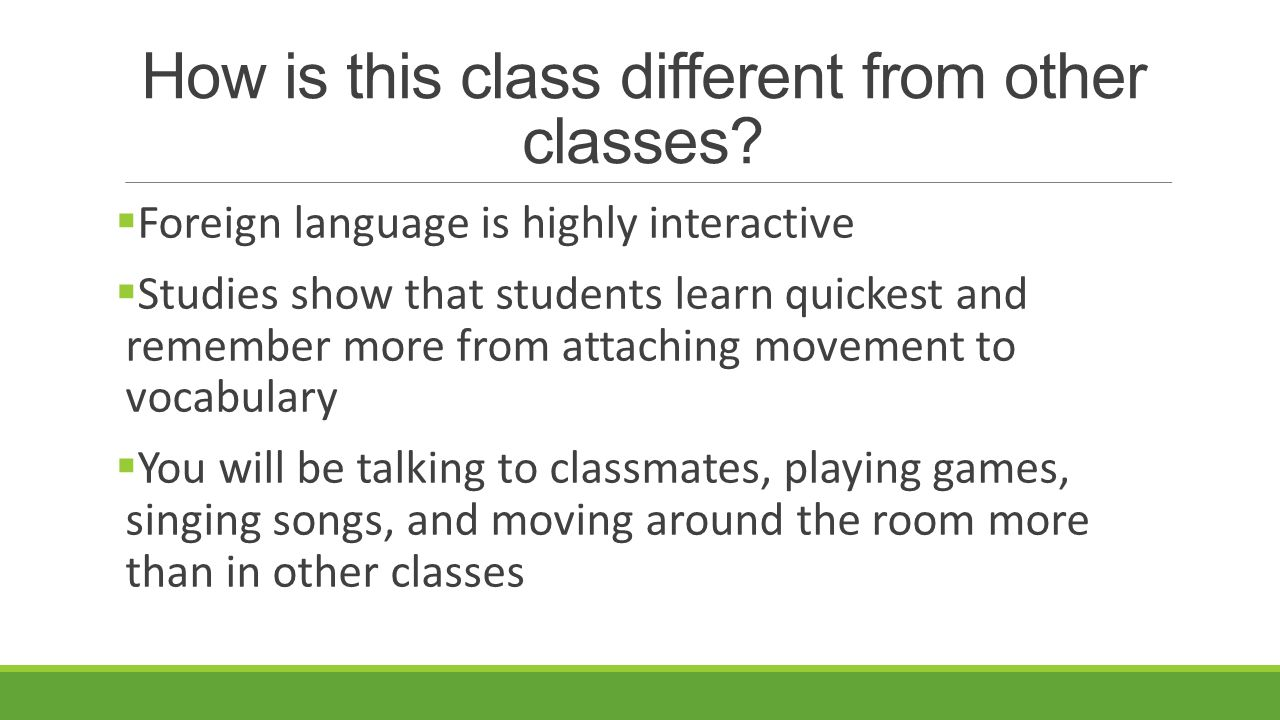 How is this class different from other classes.
