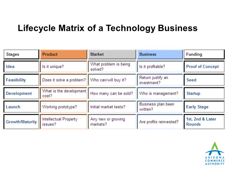 Lifecycle Matrix of a Technology Business