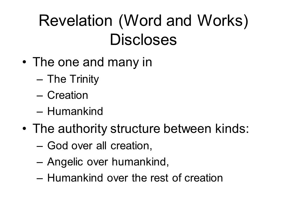 Revelation (Word and Works) Discloses The one and many in –The Trinity –Creation –Humankind The authority structure between kinds: –God over all creation, –Angelic over humankind, –Humankind over the rest of creation