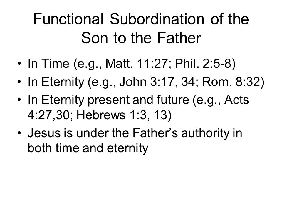 Functional Subordination of the Son to the Father In Time(e.g., Matt.