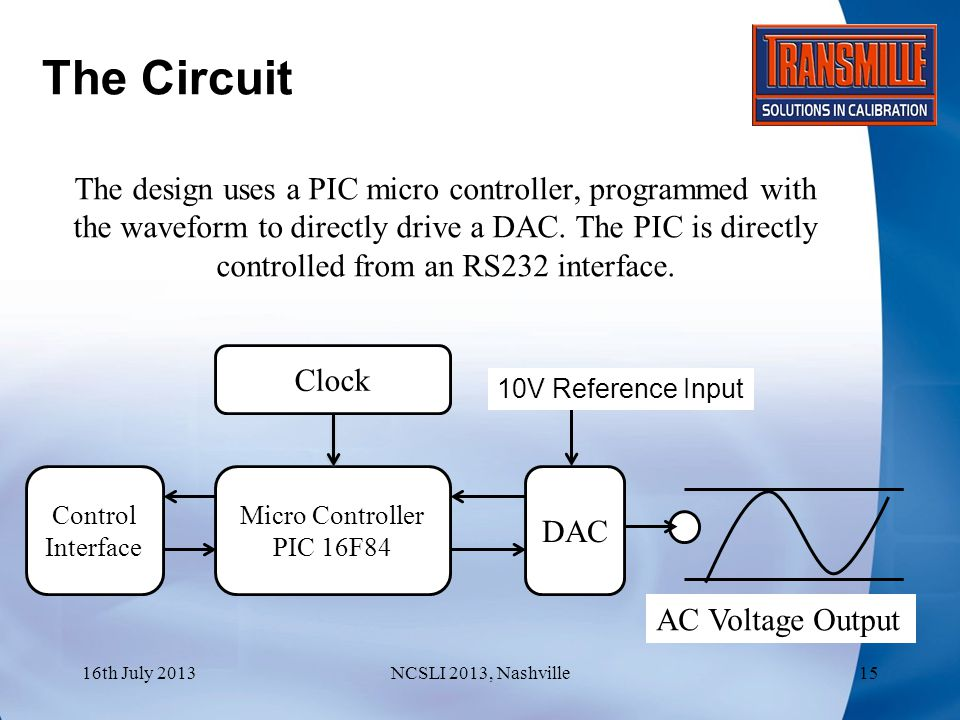 The Circuit The design uses a PIC micro controller, programmed with the waveform to directly drive a DAC.