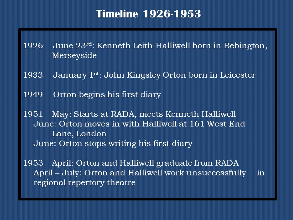 Timeline 1926-1953 1926 June 23 rd : Kenneth Leith Halliwell born in Bebington, Merseyside 1933 January 1 st : John Kingsley Orton born in Leicester 1949 Orton begins his first diary 1951May: Starts at RADA, meets Kenneth Halliwell June: Orton moves in with Halliwell at 161 West End Lane, London June: Orton stops writing his first diary 1953April: Orton and Halliwell graduate from RADA April – July: Orton and Halliwell work unsuccessfully in regional repertory theatre