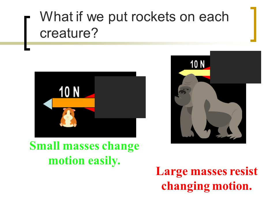 What if we put rockets on each creature. Large masses resist changing motion.
