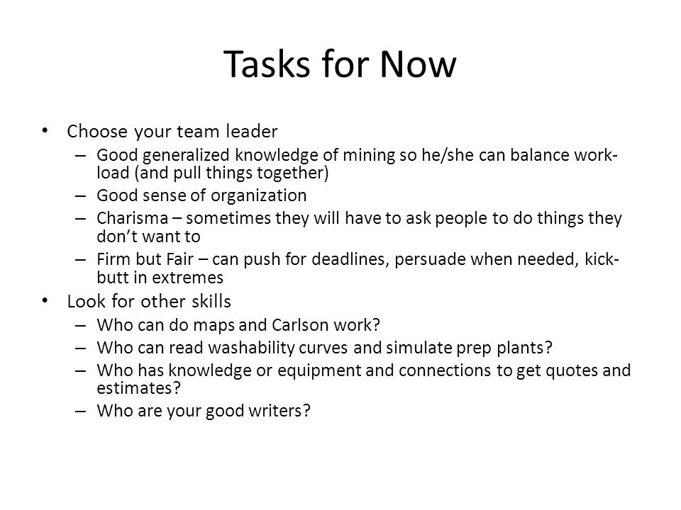Tasks for Now Choose your team leader – Good generalized knowledge of mining so he/she can balance work- load (and pull things together) – Good sense of organization – Charisma – sometimes they will have to ask people to do things they don't want to – Firm but Fair – can push for deadlines, persuade when needed, kick- butt in extremes Look for other skills – Who can do maps and Carlson work.
