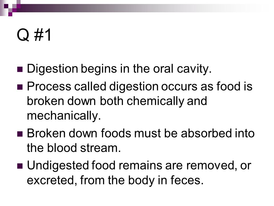 Q #1 Digestion begins in the oral cavity.