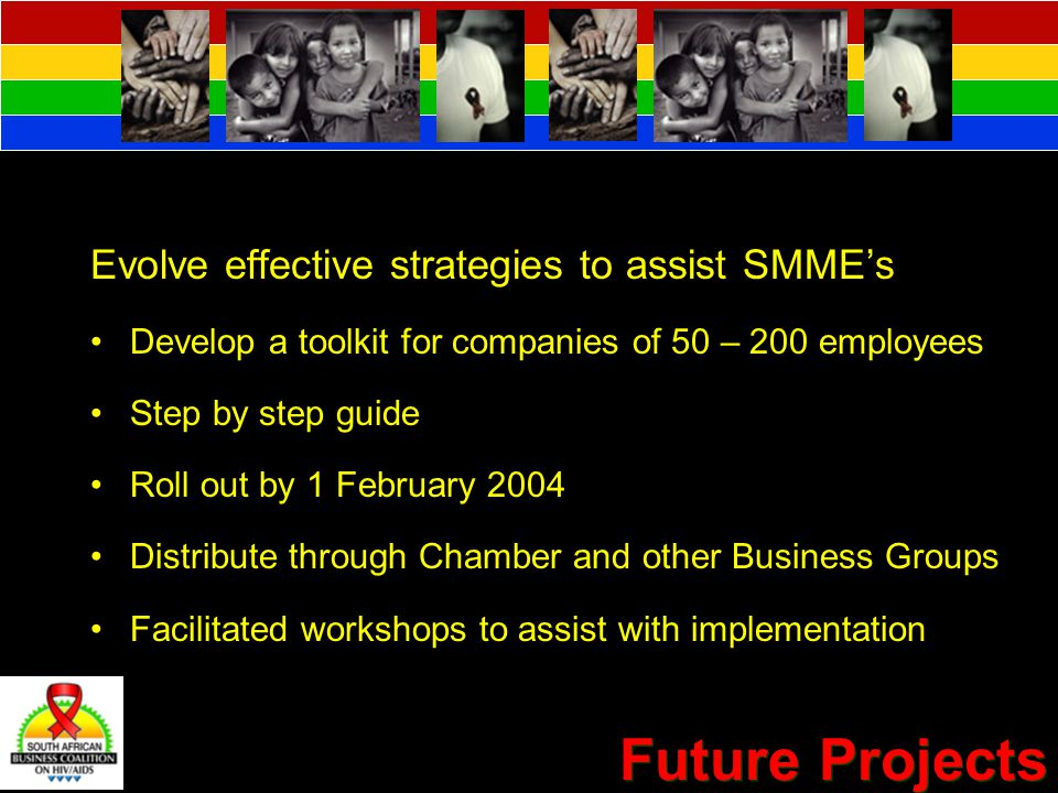 Future Projects Evolve effective strategies to assist SMME's Develop a toolkit for companies of 50 – 200 employees Step by step guide Roll out by 1 February 2004 Distribute through Chamber and other Business Groups Facilitated workshops to assist with implementation