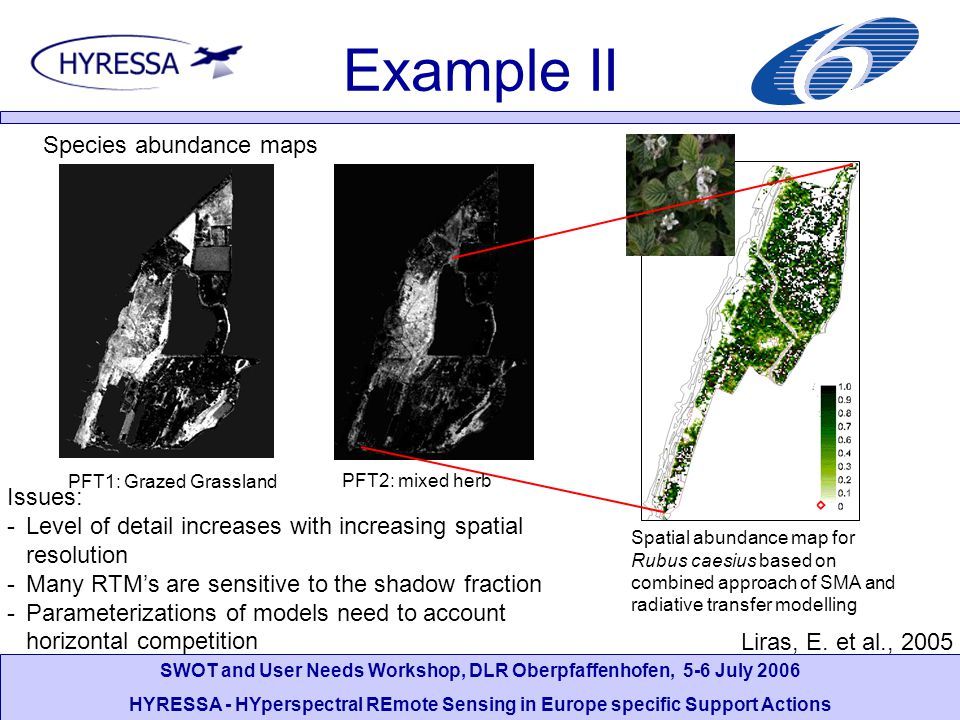 SWOT and User Needs Workshop, DLR Oberpfaffenhofen, 5-6 July 2006 HYRESSA - HYperspectral REmote Sensing in Europe specific Support Actions Example II Species abundance maps f APAR PRI Issues: -Level of detail increases with increasing spatial resolution -Many RTM's are sensitive to the shadow fraction -Parameterizations of models need to account horizontal competition Spatial abundance map for Rubus caesius based on combined approach of SMA and radiative transfer modelling PFT1: Grazed Grassland PFT2: mixed herb Liras, E.
