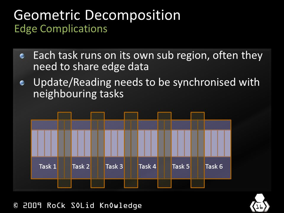 © 2009 RoCk SOLid KnOwledge 16 Geometric Decomposition Each task runs on its own sub region, often they need to share edge data Update/Reading needs to be synchronised with neighbouring tasks Edge Complications Task 1Task 2Task 3Task 4Task 5Task 6