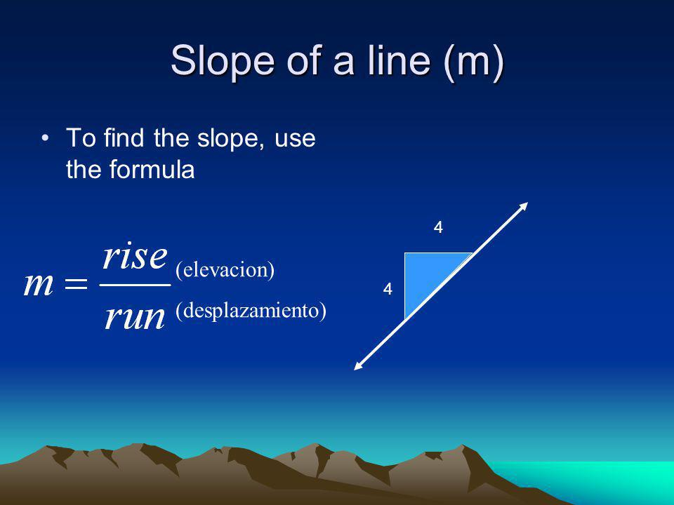 Slope of a line (m) To find the slope, use the formula 4 4 (elevacion) (desplazamiento)