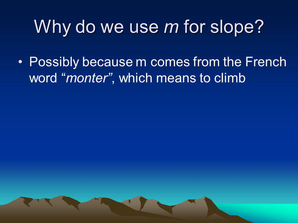 Why do we use m for slope.