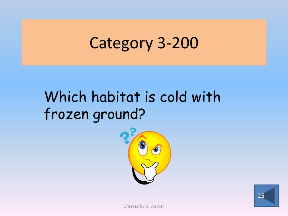 Category 3-200 25 Which habitat is cold with frozen ground Created by S. Weider