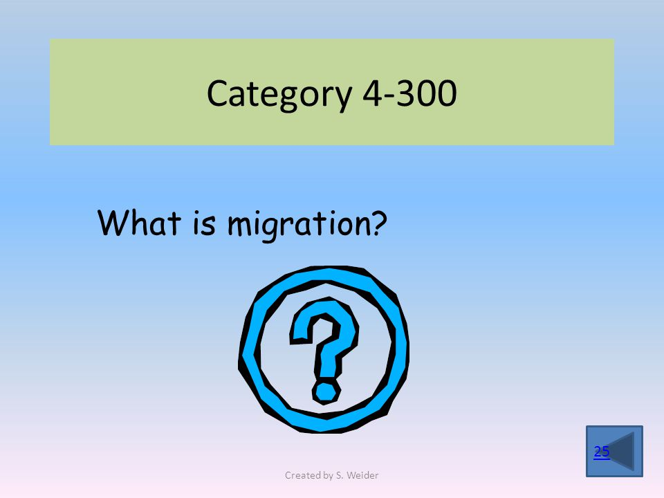 Category 4-300 25 What is migration Created by S. Weider