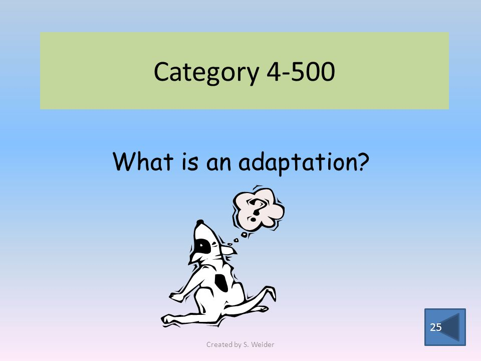 Category 4-500 25 What is an adaptation Created by S. Weider