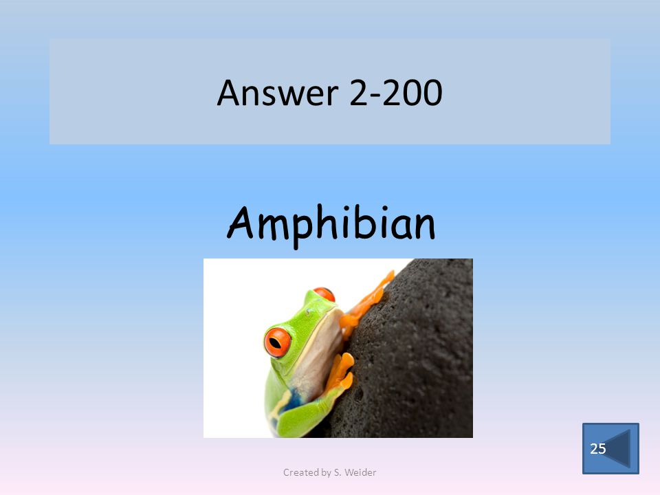 Answer 2-200 25 Amphibian Created by S. Weider
