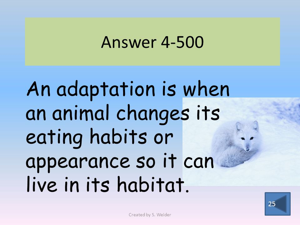 Answer 4-500 25 An adaptation is when an animal changes its eating habits or appearance so it can live in its habitat.