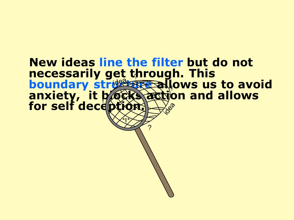 New ideas line the filter but do not necessarily get through.