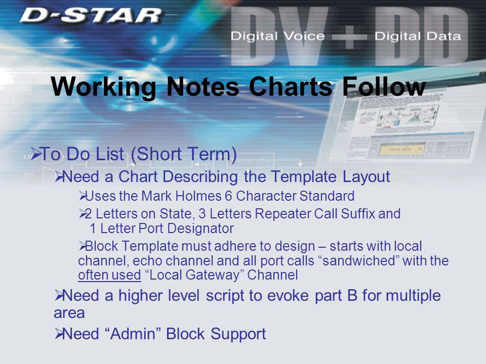  To Do List (Short Term)  Need a Chart Describing the Template Layout  Uses the Mark Holmes 6 Character Standard  2 Letters on State, 3 Letters Repeater Call Suffix and 1 Letter Port Designator  Block Template must adhere to design – starts with local channel, echo channel and all port calls sandwiched with the often used Local Gateway Channel  Need a higher level script to evoke part B for multiple area  Need Admin Block Support Working Notes Charts Follow