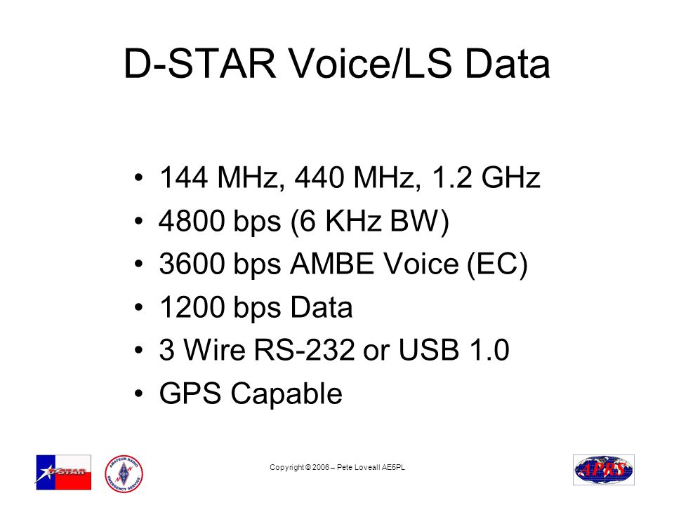 Copyright © 2006 – Pete Loveall AE5PL D-STAR Voice/LS Data 144 MHz, 440 MHz, 1.2 GHz 4800 bps (6 KHz BW) 3600 bps AMBE Voice (EC) 1200 bps Data 3 Wire RS-232 or USB 1.0 GPS Capable