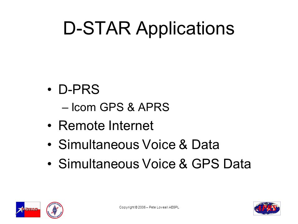 Copyright © 2006 – Pete Loveall AE5PL D-STAR Applications D-PRS –Icom GPS & APRS Remote Internet Simultaneous Voice & Data Simultaneous Voice & GPS Data