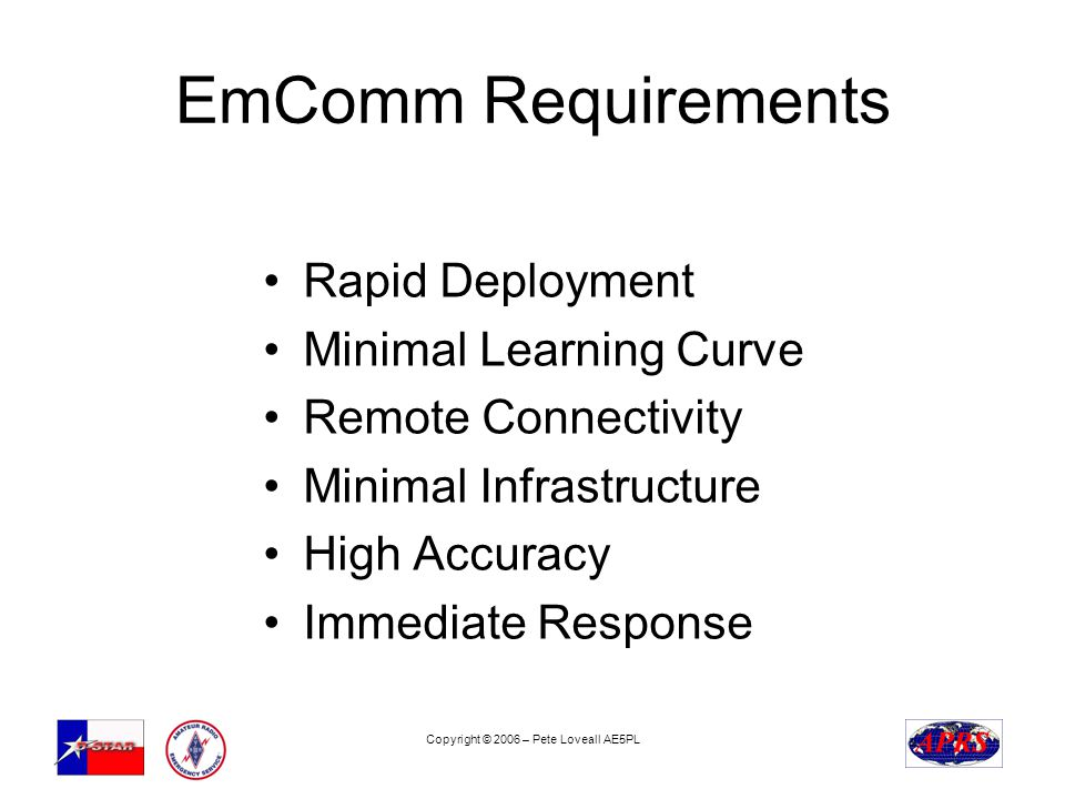 Copyright © 2006 – Pete Loveall AE5PL EmComm Requirements Rapid Deployment Minimal Learning Curve Remote Connectivity Minimal Infrastructure High Accuracy Immediate Response