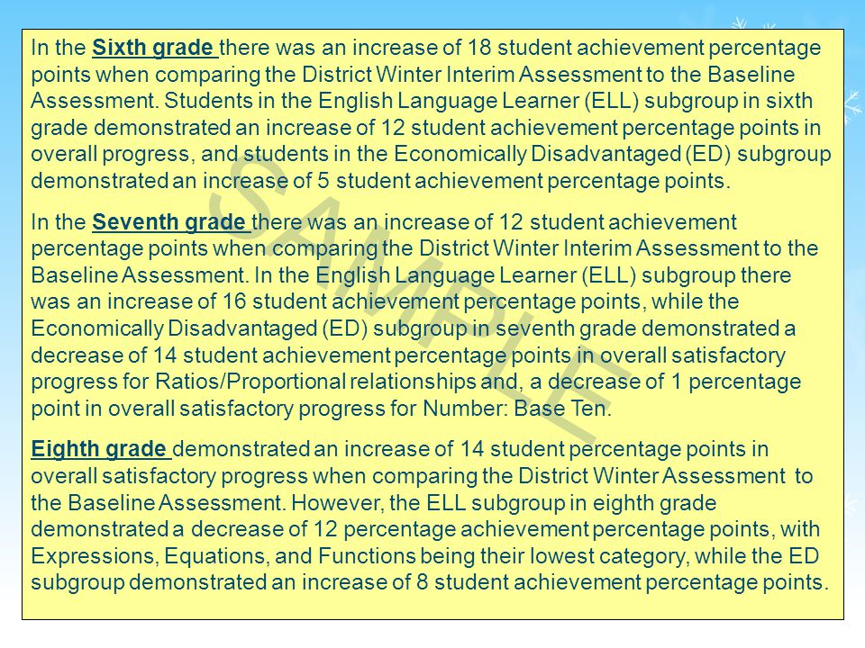 33 In the Sixth grade there was an increase of 18 student achievement percentage points when comparing the District Winter Interim Assessment to the Baseline Assessment.