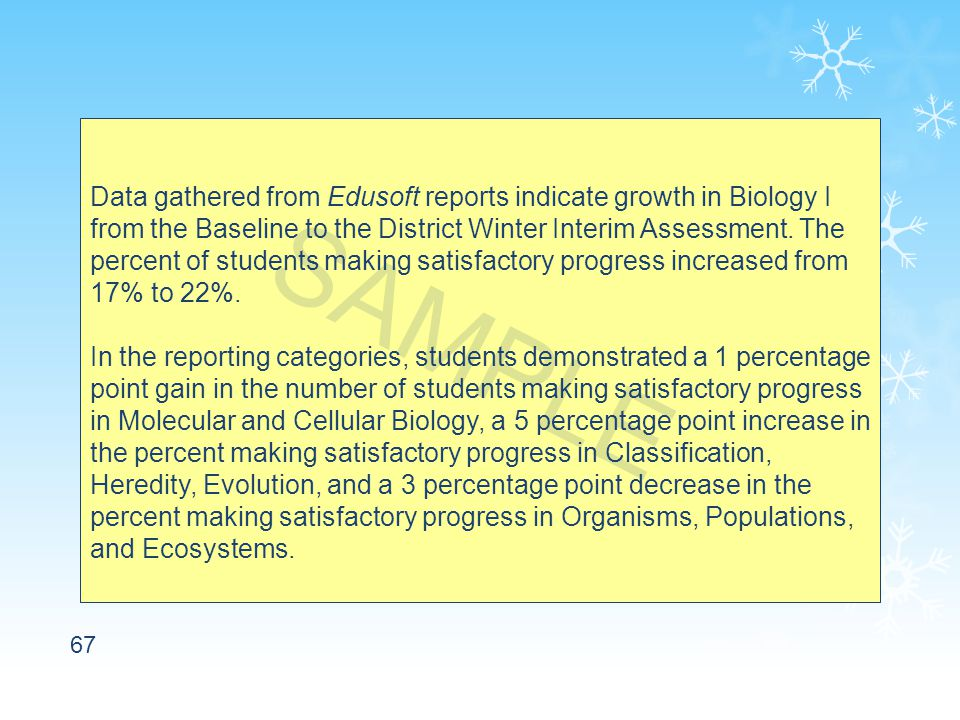 67 Data gathered from Edusoft reports indicate growth in Biology I from the Baseline to the District Winter Interim Assessment.