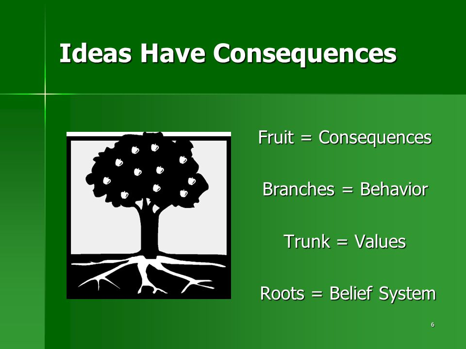 6 Ideas Have Consequences Fruit = Consequences Branches = Behavior Trunk = Values Roots = Belief System Roots = Belief System