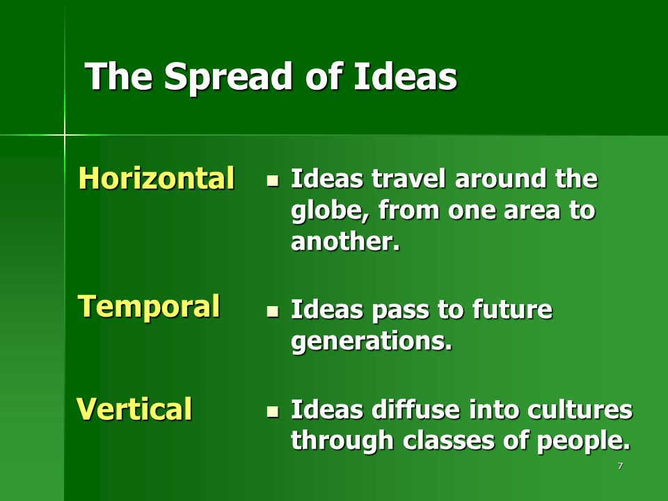 7 The Spread of Ideas Ideas travel around the globe, from one area to another.