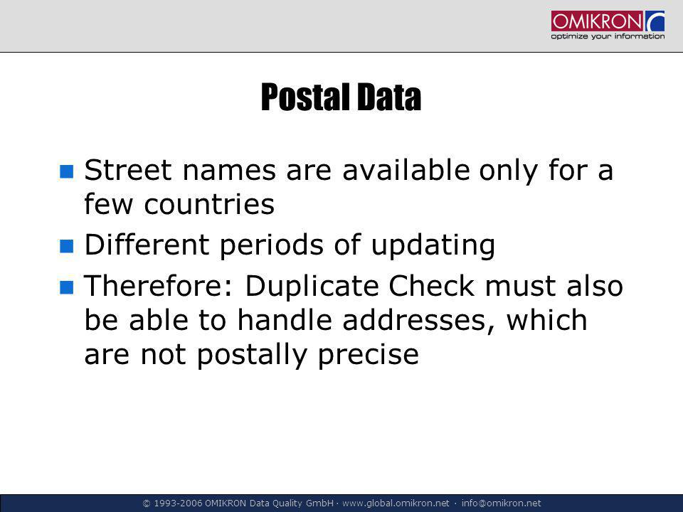 © 1993-2006 OMIKRON Data Quality GmbH ∙ www.global.omikron.net ∙ info@omikron.net Postal Data Street names are available only for a few countries Different periods of updating Therefore: Duplicate Check must also be able to handle addresses, which are not postally precise