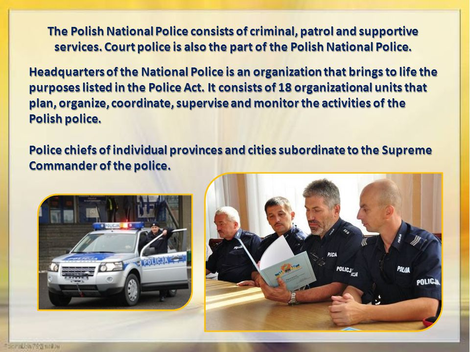 The Polish National Police consists of criminal, patrol and supportive services.