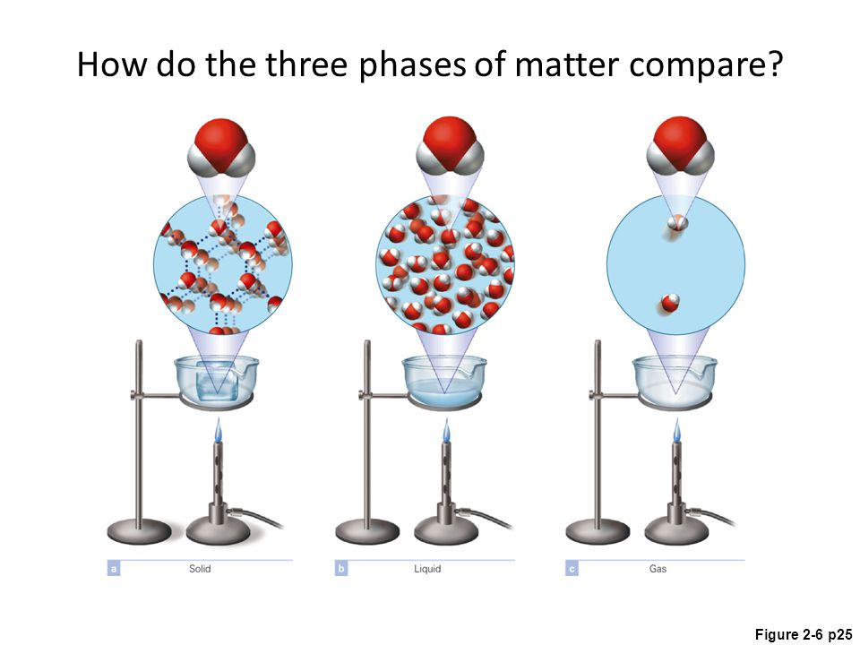 Figure 2-6 p25 How do the three phases of matter compare