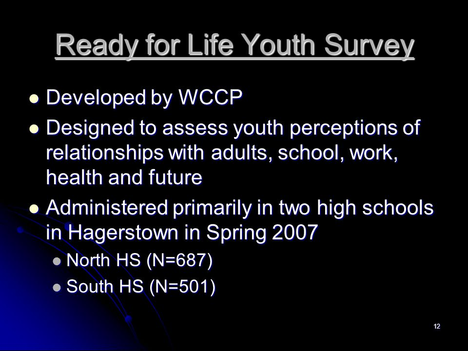 12 Ready for Life Youth Survey Developed by WCCP Developed by WCCP Designed to assess youth perceptions of relationships with adults, school, work, health and future Designed to assess youth perceptions of relationships with adults, school, work, health and future Administered primarily in two high schools in Hagerstown in Spring 2007 Administered primarily in two high schools in Hagerstown in Spring 2007 North HS (N=687) North HS (N=687) South HS (N=501) South HS (N=501)