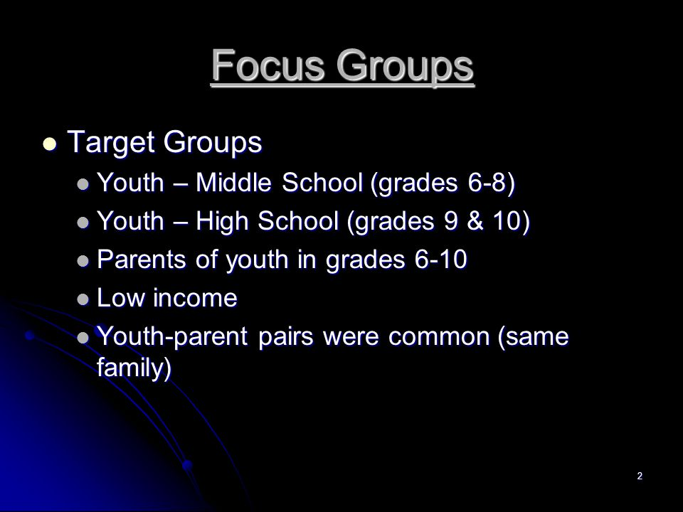 2 Focus Groups Target Groups Target Groups Youth – Middle School (grades 6-8) Youth – Middle School (grades 6-8) Youth – High School (grades 9 & 10) Youth – High School (grades 9 & 10) Parents of youth in grades 6-10 Parents of youth in grades 6-10 Low income Low income Youth-parent pairs were common (same family) Youth-parent pairs were common (same family)