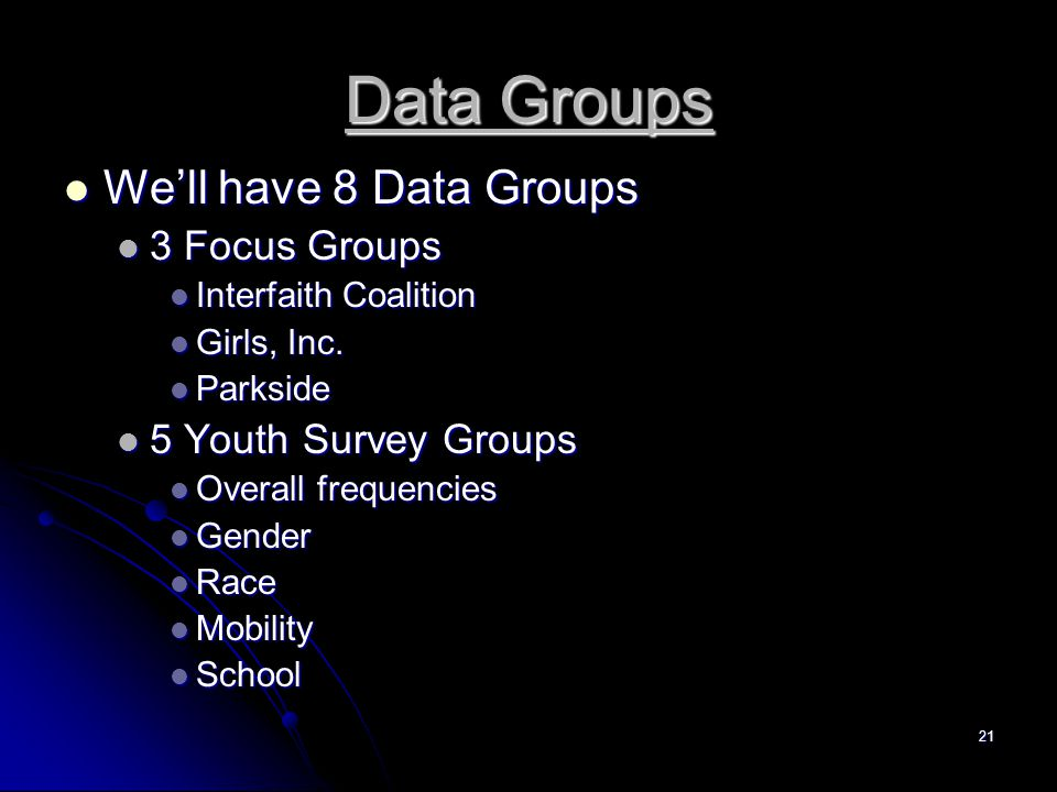 21 Data Groups We'll have 8 Data Groups We'll have 8 Data Groups 3 Focus Groups 3 Focus Groups Interfaith Coalition Interfaith Coalition Girls, Inc.