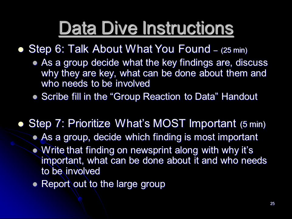 25 Data Dive Instructions Step 6: Talk About What You Found – (25 min) Step 6: Talk About What You Found – (25 min) As a group decide what the key findings are, discuss why they are key, what can be done about them and who needs to be involved As a group decide what the key findings are, discuss why they are key, what can be done about them and who needs to be involved Scribe fill in the Group Reaction to Data Handout Scribe fill in the Group Reaction to Data Handout Step 7: Prioritize What's MOST Important (5 min) Step 7: Prioritize What's MOST Important (5 min) As a group, decide which finding is most important As a group, decide which finding is most important Write that finding on newsprint along with why it's important, what can be done about it and who needs to be involved Write that finding on newsprint along with why it's important, what can be done about it and who needs to be involved Report out to the large group Report out to the large group